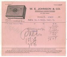 WE Johnson Wholesale Confectioners, JOHNSTOWN PA Antique Pennsylvania Billhead