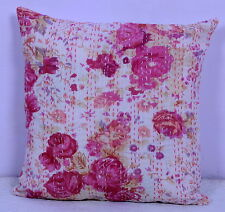 White Floral Kantha Cushion Cover Handmade Pillow Case Ethnic Decor Home 16""
