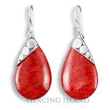 Edle Ohrringe Hänger Silber Schmuck Rote Koralle Silver Earrings Coral SER217