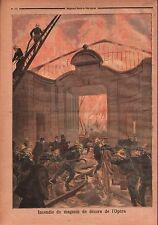 Fire Incendie Pompiers Magasin Décors de L'Opéra Garnier Paris 1894 ILLUSTRATION