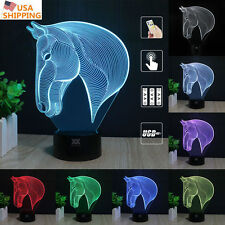 Horse Head 7 Color Change Night Light 3D Acrylic LED Touch Table Lamp Gifts