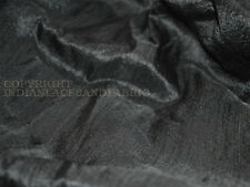 Black Pure Dupioni Raw Silk Fabric Raw Mulberry Silk
