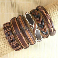 6pcs Mens Surfer Cuff Wholesale Lots Ethnic Tribal Genuine Leather Bracelet-D160