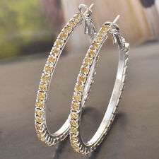 Pretty New 9K Silver/White Gold Filled Champagne Crystal CZ Hoop Earrings