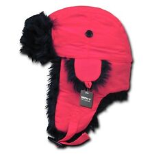Pink Black Aviator Bomber Faux Fur Neon Winter Trooper Trapper Ear Flap Hat S/M