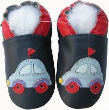 shoeszoo car flag dark blue 6-12m S soft sole leather baby shoes