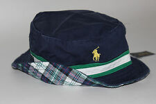NWT POLO RALPH LAUREN L/XL Men's Navy Chino Plaid Reversible Striped Bucket Hat
