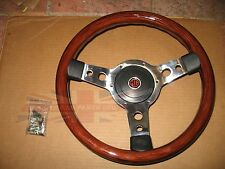 """New 13"""" Wood Steering Wheel and Adaptor for MGA & MGB 1963-1967 Made in the UK"""