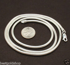 "24"" 3mm Solid Snake Chain Necklace Real Sterling Silver 37.50gr"