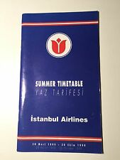 ISTANBUL AIRLINES TIMETABLE SUMMER 1999 TURKEY SEAT MAPS
