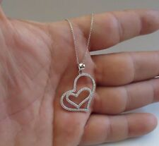 HEART INSIDE A HEART NECKLACE PENDANT W/ 1 ct LAB DIAMONDS/925 STERLING SILVER