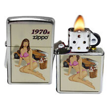 Zippo 207 Classic Pin Up Girl 1970's Street Chrome Windproof Lighter NEW