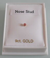 Brand New 9ct Gold & Pink Crystal Claw set 2mm Round Nose Stud - Boxed