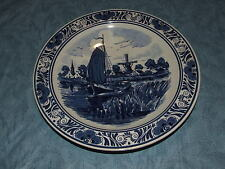 PLATE DELFT BLAUW BLUE Holland Distel Hand Painted Sail Boat 11""