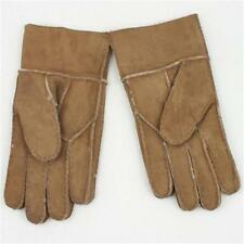 New Men's Winter Genuine Brown Sheepskin Leather Shearling Fur Warm Gloves