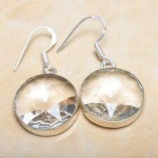 "Elegant Handmade White Topaz 925 Sterling Silver Earrings 1.75"" #E00262"