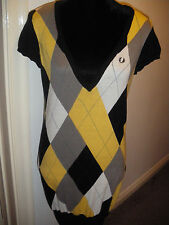Amy Winehouse Fred Perry Yellow and Black Argyle Jumper Dress Size 10 Worn Once