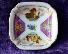 Lovely Ceramic Trinket Dish Coin Tray Hand Painted Continental scenes 7cm
