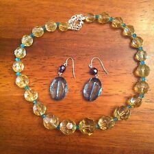 Fashion Jewelry Blue and Yellow Necklace/Earring Set