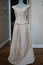 size 2/4 Vtg WATTERS AND WATTERS pearl formal dress wedding 2 pc Cream off shoul