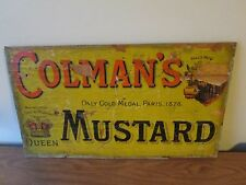 Vintage Advertising Sign Colman's Mustard Wood & Paper 1910 Top Of Crate 19x12