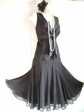 TED BAKER sz12 (3) Vintage 1920s Black Silk Deco Gatsby Charleston Flapper Dress