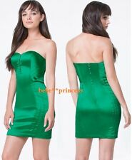 $139 NWT bebe green strapless madison satin hookeyes top dress XS 0 2 party