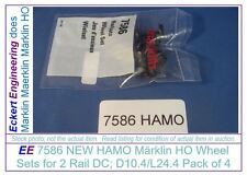 EE 7586 NEW HAMO Märklin HO Wheel Sets for 2 Rail DC D10.4/L24.4 Pk/4 aka 70058
