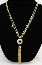New Gold Pendant Necklace with Turquoise Beads by Banana Republic #BR50849