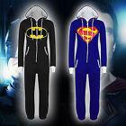 UNISEX ONESIE SUPERMAN BATMAN Hooded ZIPPER All In One Playsuit JumpSuit PYJAMAS