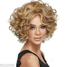 Ladies fashion Curly mixed blonde Natural Hair Women's Wigs + wig cap #