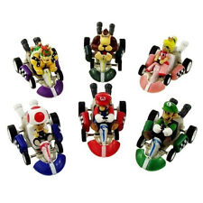 "New 6Pcs Super Mario Kart Luigi 2"" PVC Figure Four Wheels Pull Back Car Doll Toy"
