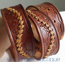 Vintage Cowboy HIPPIE Western Tooled Hand Laced Brown Leather Belt size 36