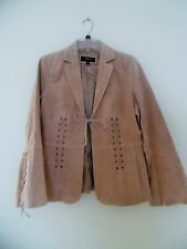 Women suede laced-up jacket open-front Medium , light beige brown Colebrook