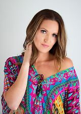 Kaftan dress, embellished Viscose Moroccan mosaic inspired print lace up kaftan