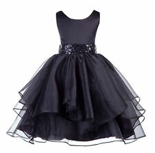 Wedding Asymmetric Ruffles Satin Organza Flower girl dress Elegant Pageant Party