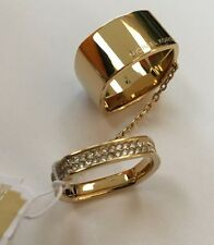 New Michael Kors Fulton Pave Logo Square Set Double Chained Ring $115 MK 7 Gold