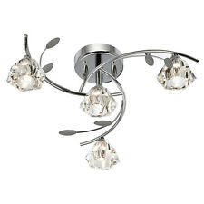Searchlight 2634-4cc SIERRA Chrome Ceiling Light/Sculptured Glass Shade