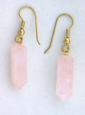 Pair Natural Rose Quartz Crystal Point Goldplated Earwire Earrings EBS2800OTH