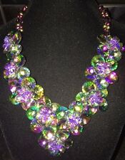 Butler & Wilson Stunning Multi Coloured Crystal Flower Necklace New