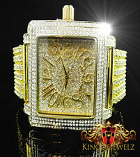 Men's Torpedo ICEMASTER 6 Row Iced Out Band Gold White Diamond Simulate Watch
