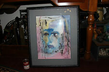 Water Color Painting Of Depressed Person Face-Joe Luzaru-Sad Somber-Unusual