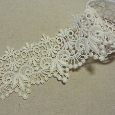 1yd Antique St scalloped Embroidery Cotton Fabric Crochet Lace Trim 7.5cm wide