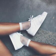 Women White Fishnet Ankle High Socks Lady Mesh Lace Fish Net Short Socks Sanwood