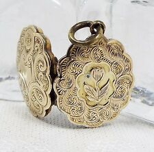 Antique Victorian 9ct Gold Ornate Engraved Forget Me Not Shield Locket Necklace