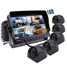 "5 x SIDE VIEW CAMERAS 9"" QUAD MONITOR WITH DVR SAFETY SYSTEM BACKUP CAMERAS KIT"