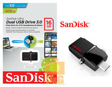 New SanDisk 16GB OTG Dual USB Drive 3.0 Flash Drive 130mb/s SDDD2-032G