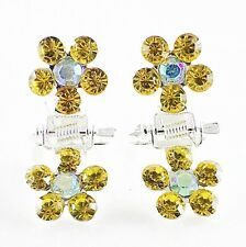 MINI Hair Claw Clip Rhinestone Crystal Hairpin Bridal Wedding Flower Yellow 05