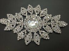 Diamante Motif Applique Rhinestone Sew on Wedding Silver Crystal Patch A68