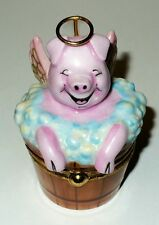 "LIMOGES BOX- ARTORIA - ANGEL PIG & WINGS IN A BUBBLE BATH - ""WHEN PIGS FLY"" - LE"